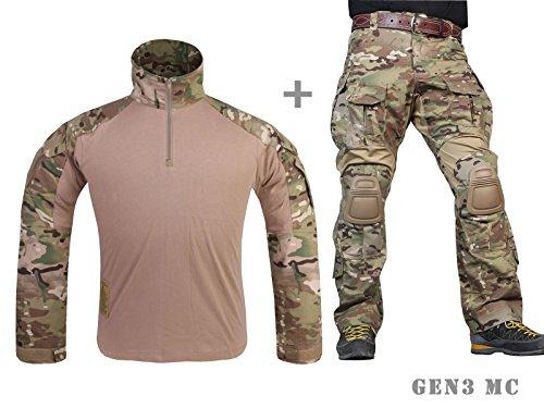 équipement de paintball Homme uniforme de combat militaire airsoft chasse Gen3 uniforme tactique MultiCam MC (XL)