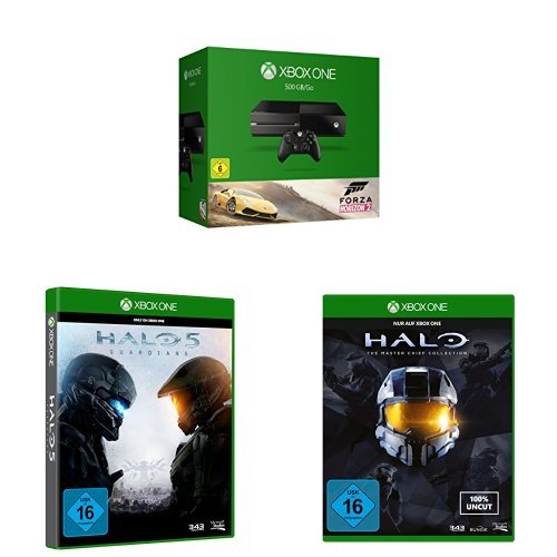 Xbox One Konsole (500GB) + Forza Horizon 2 + Halo 5: Guardians + Halo - The Master Chief Collection Standard Edition (Forza Horizon 5)