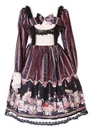 Kawaii-Story JSK-22-2 Burgund Rot Steam Punk Bär Katze Hase Pastel Goth Lolita Langarm Kleid Cosplay Kostüm Harajuku (Toy Story Bär Kostüm)