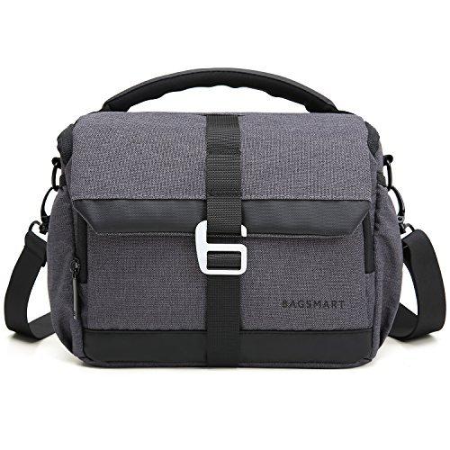 BAGSMART Kameratasche DSLR SLR Fototasche mit Regenschutz für Nikon Canon Sony Pentax Olympus Fujifilm Panasonic Spiegelreflexkamera (Dunkelgrau)