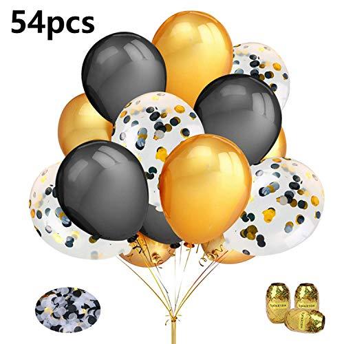 Aperil Gold Schwarz Ballons Set, Gold Schwarz Konfetti Ballons Party Geburtstag Dekoration mit 50 Stück Schwarzgold Latex Ballons 3 Stück Ballonbänder für Brautjungen Männer 30 40 Partydekorationen (50 Jährigen Geburtstag Dekorationen)