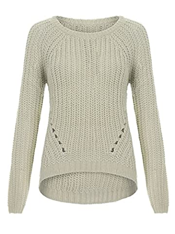 ENVY BOUTIQUE WOMENS LADIES RIBBED KNIT JUMPER RIB HOLE KNITTED CURVED HEM SWEATER PULLOVER CREAM