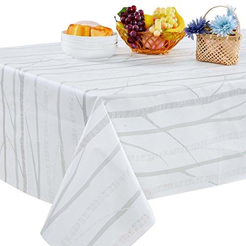Topmail Mantel Plastico Manteles Mesa Rectangular Blancos Decoración del Hogar Impermeable Prueba de Aceite Restaurante Cocina Cafetería Mantel de Jardín 140x220cm