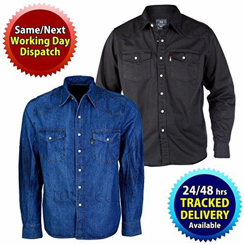 Mens Duke London Western Stonewash Long Sleeved Trucker Denim Shirt