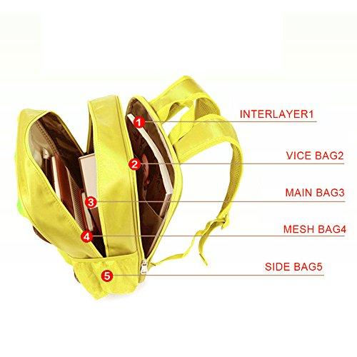 GudeHome Karikatur 3D Car Rucksack Für Kinder große Kapazität Schulrucksack Tasche für Schule -Gelb Yellow