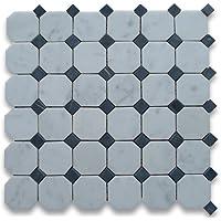 Blanco de Carrara italiano Carrera mármol octógono azulejo de mosaico 5,08 cm afinaban