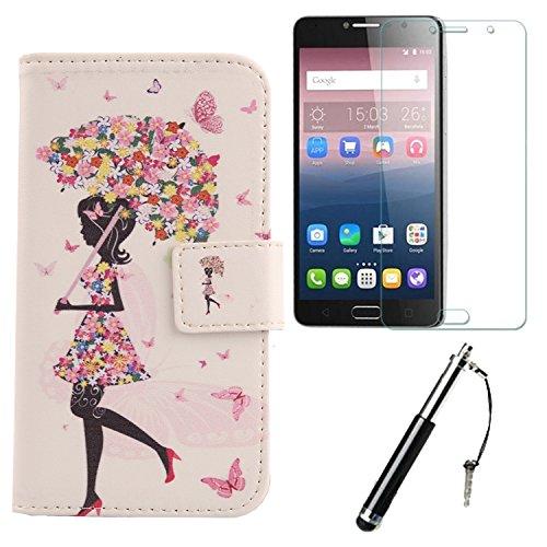 Lankashi Umbrella Girl 3in1 Set PU Flip Leder Tasche Für Alcatel Idol 4S 6070K 5.5