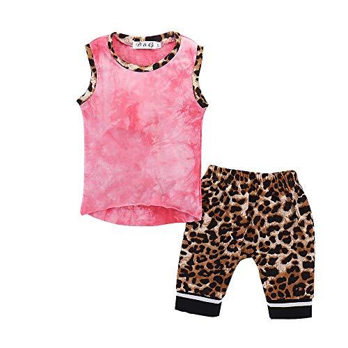 LABIUO Junge Kleidung Baby Weste Lässige Leopardenhose Sommerlicher Komfortanzug Kinderkleidung(Rosa,12M)