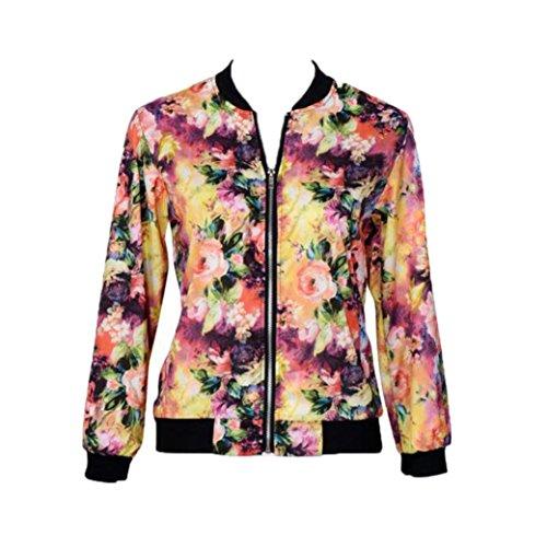 ODRD  [ XL - 2XL ],  Damen Langarmshirt Tops Stehkragen Zipper Floral Bedruckte Bomberjacke Abendkleid Pullover Pulli (XL, Bunt)