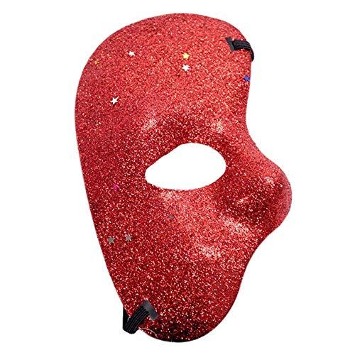 Inception pro infinite (Rot) Halbe Gesichtsmaske - Geist der Oper Mit Glitzer farbig Kostüm Maskerade Karneval Halloween Cosplay (Halb Mann Halb Frau Halloween)
