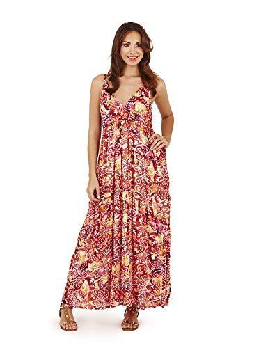 Pistachio, Damen Blumen Maxi-kleid Aus Baumwolle Rot