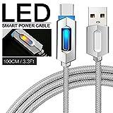 Pawaca Intelligentes USB-Ladekabel, 1M/3.2FT Typ-C Nylon Geflochten Syn Auto-Trennung Ladegerät Kabel mit LED-Anzeige für MacBook, Google Pixel, Nexus, Samsung Galaxy(Grau)