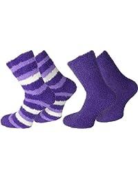 2 Paar Kuschelsocken / Bettsocken / Socken Stripe geringelt mit Elasthan