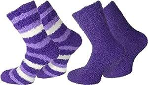 2 Paar normani® Cuddly Socks Kuschelsocken in verschiedenen Farben Farbe Ringel/Lila Größe 39/42