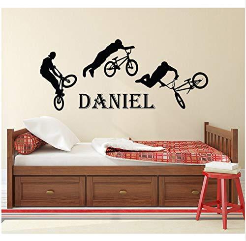 Teen Jungen Name Aufkleber BMX Cartoon Jumping Bike Vinyl Wandaufkleber Personalisierte Name Kids Teens Jungen Room Decor DecalsA07 57x42 cm -