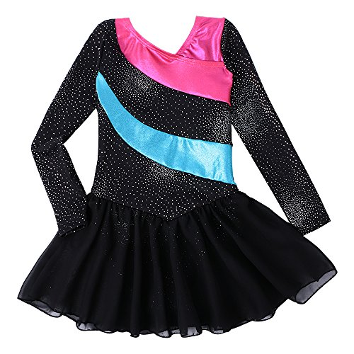 Christmas Kostüm Dance Childrens - Kidsparadisy Girls Long Sleeve Dance Leotard with Skirt Dress Tulle Rainbow Stripe Gymnastic Costumes for 2-11Y Girls (Blacklong, 120(4-5T))