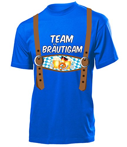 Team Brautigam 5845 Junggesellen Abschied Feier Ideen JGA Hochzeit Heiraten Outfit Hemd Herren Shirt Kostüm für Männer Geschenk Tshirt Blau M