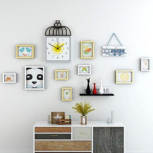 Home @ Wall Bilderrahmen Foto Wandrahmen Wand Massivholz Wand Kreative Bilderrahmen Kombination Europäischen Stil Wohnzimmer Schlafzimmer Esszimmer Foto Wa ( Farbe : A , größe : 173*93cm ) - 93 Inkjet