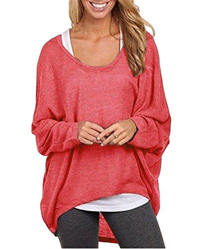 Damen Lose Asymmetrisch Langarm Pullover Sweatshirt Bluse Oberteile Oversized T-shirt Tops Rot