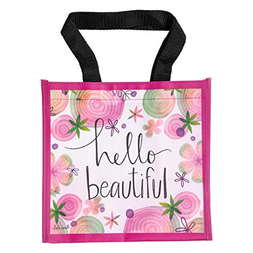 Brownlow Gifts Simple Inspirations Reusable Gift Tote Bag, 9.5 x 9-Inch, Hello Beautiful -