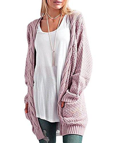 CNFIO Pullover Damen Strickjacke Lässig Casual Cardigan Langarm Outwear mit Taschen Mantel Jacke Winter rosa S