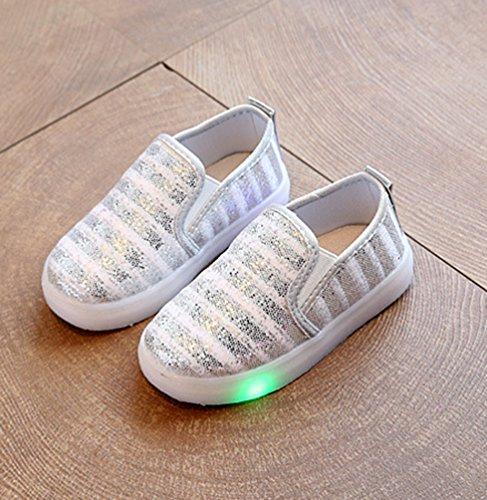 NiSeng Mädchen & Jungen Casual Schuhe Kinder Mode Led Schuhe Sportschuhe Turnschuhe Silber