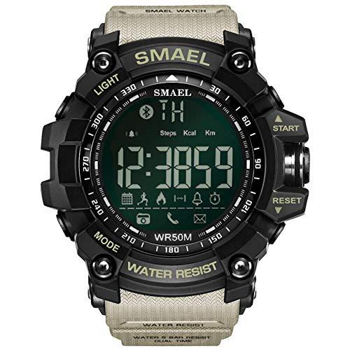 beautygoods Deporte smartwatch Digital, 50 Metros / 164.04ft Natación Deporte Impermeable a Prueba de Golpes Relojes Estilo Ejército Verde Bluetooth Connect Hombres Reloj Digital Masculino