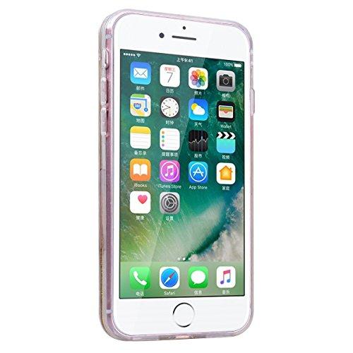 """WE LOVE CASE iPhone 7 / iPhone 8 Hülle Einhorn Weiß Glitzern Treibsand Transparent Flüssig Kristall klar Quicksand Diamant Liquid Liebe Sterne iPhone 7 / iPhone 8 4,7"""" Hülle Gold Schutzhülle Handyhüll unicorn 4"""