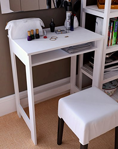 Cheap Ikazs Wood Computer Moving Desk WhiteSimple White Finish Office Computer Desk / Workstation / Study Table with Large Storage Drawer by DMF
