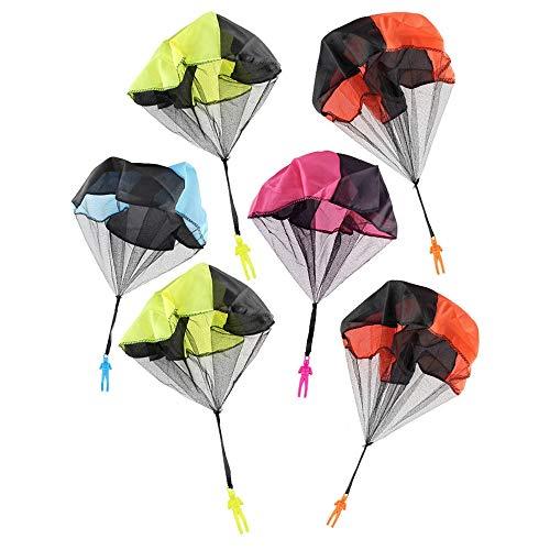 JZK 6 x Fallschirmspringer Handwurf Spielzeug-Fallschirm Hand Wurfflug Creative Outdoor Spiel für Kinder Geburtstag Party Geschenk Mitgebsel