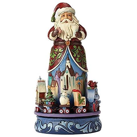 Enesco 4051543 Heartwood Creek - Der Weihnachtsmann mit Fahrendem Zug, Stein, mehrfarbig, 14 x 14 x 26,5 cm