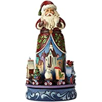 Enesco Hearwood Creek By Jim Shore Hwc Natale Magico Babbo Natale con Treno Rotativo, Pvc, Multicolore, 19x20x26 cm - Enesco Natale