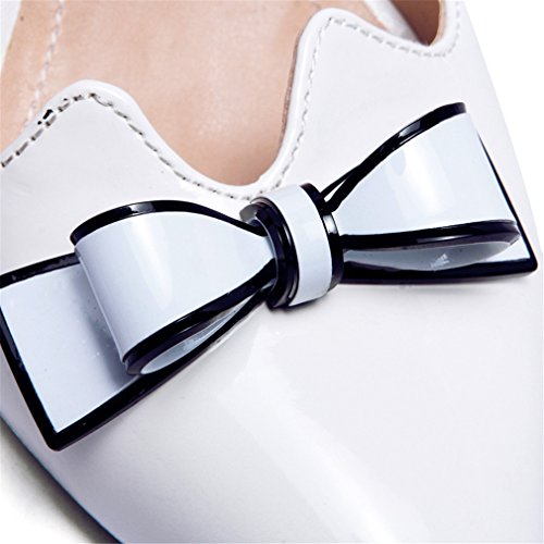 YE Damen Bequeme Elegant High Heels Spitze Lack Pumps mit Keilabsatz und Schleife 7cm Absatz Schuhe Weiß