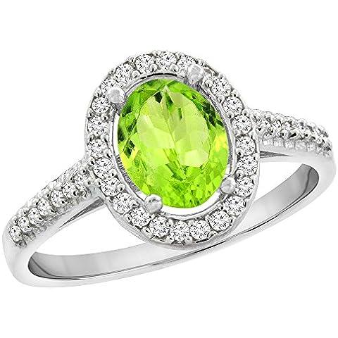Revoni 14ct de oro blanco Natural Oval 7 x 5 mm Peridot anillo de diamantes de Halo