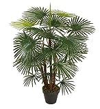 Homescapes Kustbaum Kunstpflanze Grün Immergrüner Rhapis Kunstpalme 90 cm hoch