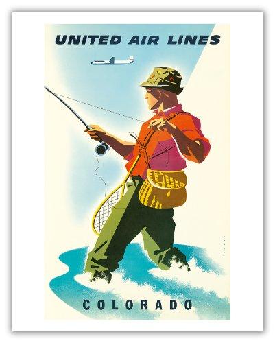 Pacifica Island Art Colorado-United Air Lines-Fischer, Fliegenfischen-Vintage Airline Travel Poster von Joseph Binder c.1950s-Kunstdruck 11