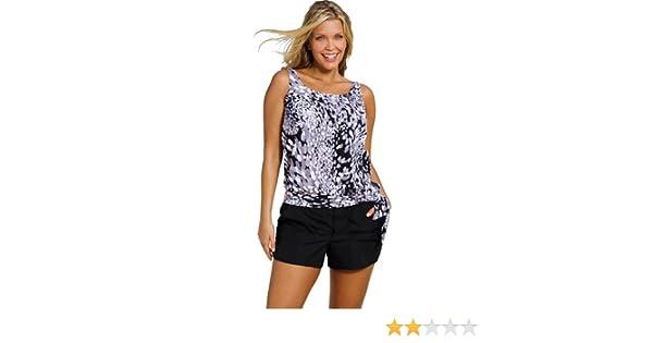 e23866eb16 Beach Belle Dew Drops Plus Size Blouson Cargo Shortini Plus Size Swimwear -  Black/White - Size:26: Amazon.co.uk: Clothing