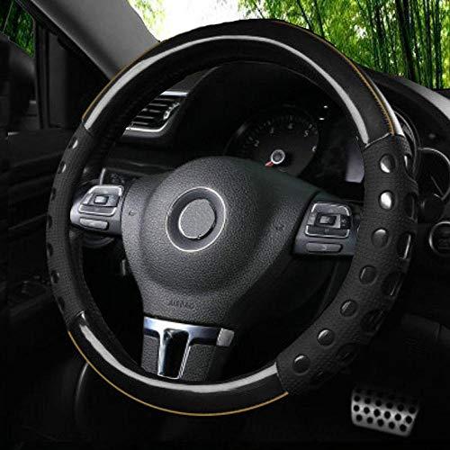 Istn Unisexs hochwertiger langlebiger Kunstleder Material und Rutschfestigkeit Universal Lenkradabdeckung Schwarz Auto Zubehör Dekor