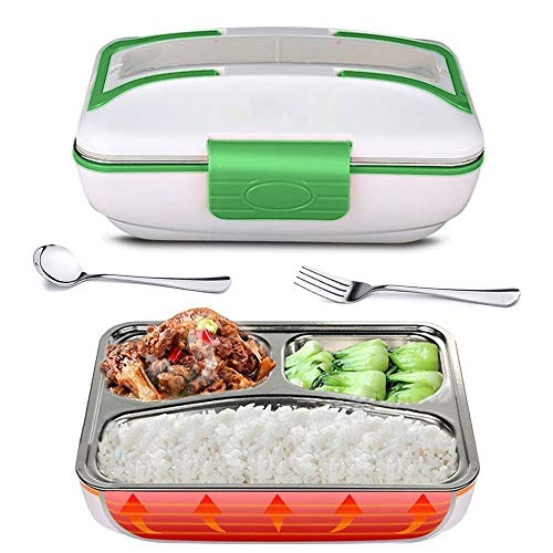 E-CHENG Lunch Box, Portable Electric Heating Lunch Warmer Box with Removable Stainless Steel Container Food Heater for Home and Office Use, 110V (Green) (Box Home Office)