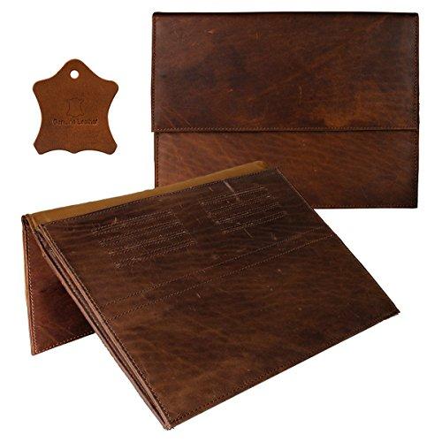 eFabrik Echtleder Hülle für Blaupunkt Endeavour 1100 (11,6 Zoll) Schutz Tasche Case Cover Sleeve Zubehör Cognac Braun