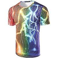 GZZ Camiseta de Manga Corta Delgada 3D Rainbow Lightning Print para Hombre de Verano/Camiseta de Manga Corta Delgada Slim Slim básica para Hombre/Slim Fit,Color,L