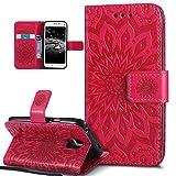 Kompatibel mit Galaxy S5 Mini Hülle,Galaxy S5 Mini Schutzhülle,Prägung Mandala Blumen Sonnenblume PU Lederhülle Flip Hülle Cover Ständer Etui Wallet Tasche Case Schutzhülle für Galaxy S5 Mini,Rot
