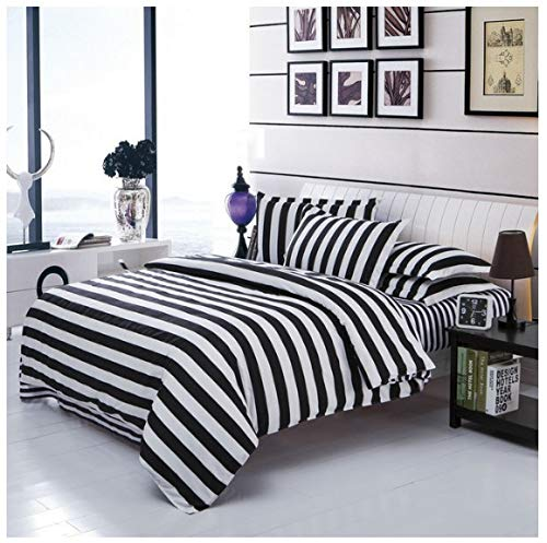 Classical Black And White Cotton Bedding Set Home Textile Bed Linen Duvet Cover Bedclothes,twin/full/queen/king Size Queen 4pcs B - Black Queen-size-bett Rock