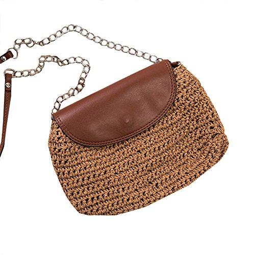 Lawevan? Frauen gewebte Tasche Umh?ngetasche mit PU Abdeckung Stroh Tasche mit Eisen Strap Braun