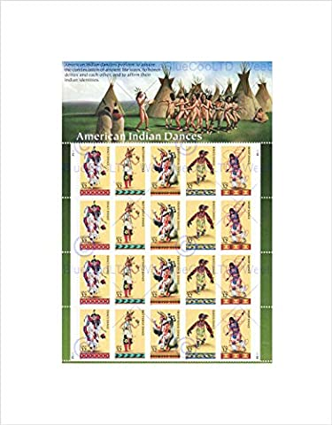 POSTAGE STAMPS AMERICAN INDIAN NATIVE DANCE USA FRAMED ART PRINT MOUNT B12X12294