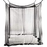 VORCOOL Corner Post Bed Canopy Mosquito Net Full Netting Bedding 190x210x240cm (Black)