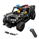Dilwe Block Baustein Fahrzeug, RC Auto 4CH Fernbedienung Elektrische Polizeiautos Blöcke Montieren Fahrzeugmodellbausatz Spielzeug