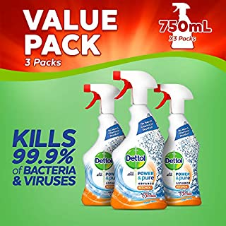 Dettol Power and Pure Advance Kitchen Cleaner Spray, 750 ml, Pack of 3