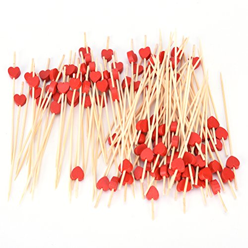 Holz Cocktail Picks, Holz Bambus Zahnstocher Gabeln Sticks für Obst BBQ Cupcake Hochzeit Party Decor Supplies rot (Rosa Und Gelbe Party Supplies)