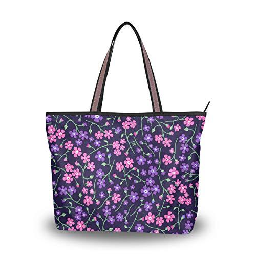 Emoya Damen Schultertasche Pinl Purple Flowers Top Handle Satchel Handtasche L, Mehrfarbig - multi - Größe: Medium -